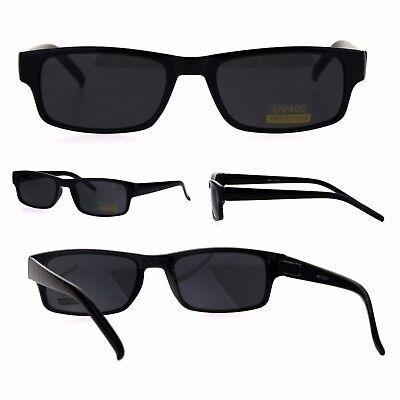 All Black Narrow Rectangular Thin Plastic Mens Minimal Mod (All Plastic Sunglasses)