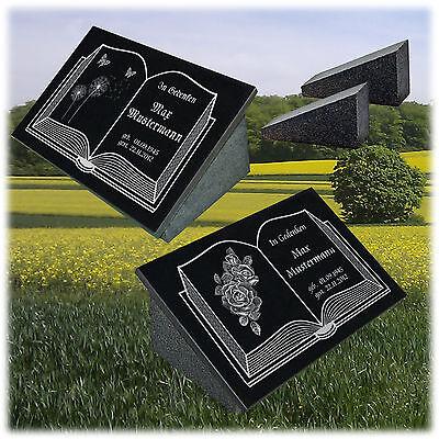 Grabstein Grabplatte Gedenkplatte Granit Wunschgravur + Doppelstütze 40x30x1 cm