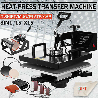8 In 1 15x15 Heat Press Machine Digital Transfer Sublimation T-shirt Mug Hat