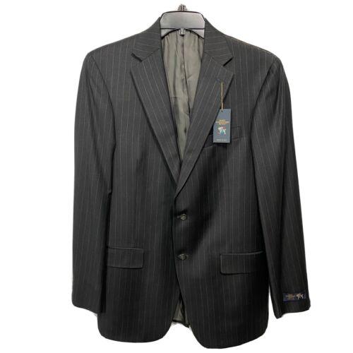 Hart Schaffner Marx Chicago Wool Suit Jacket Sport Coat 40 40L Black Pinstripe Clothing, Shoes & Accessories