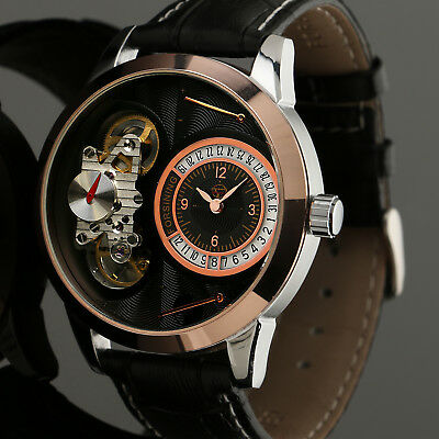 Mechanical Mens' Self-winding Watch Skeleton Tourbillon Rose Gold Case Black