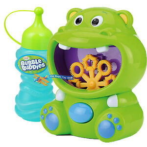 Hippo Bubble Machine Blower Solution Birthday DJ Disco Party Bubbles Garden Toy