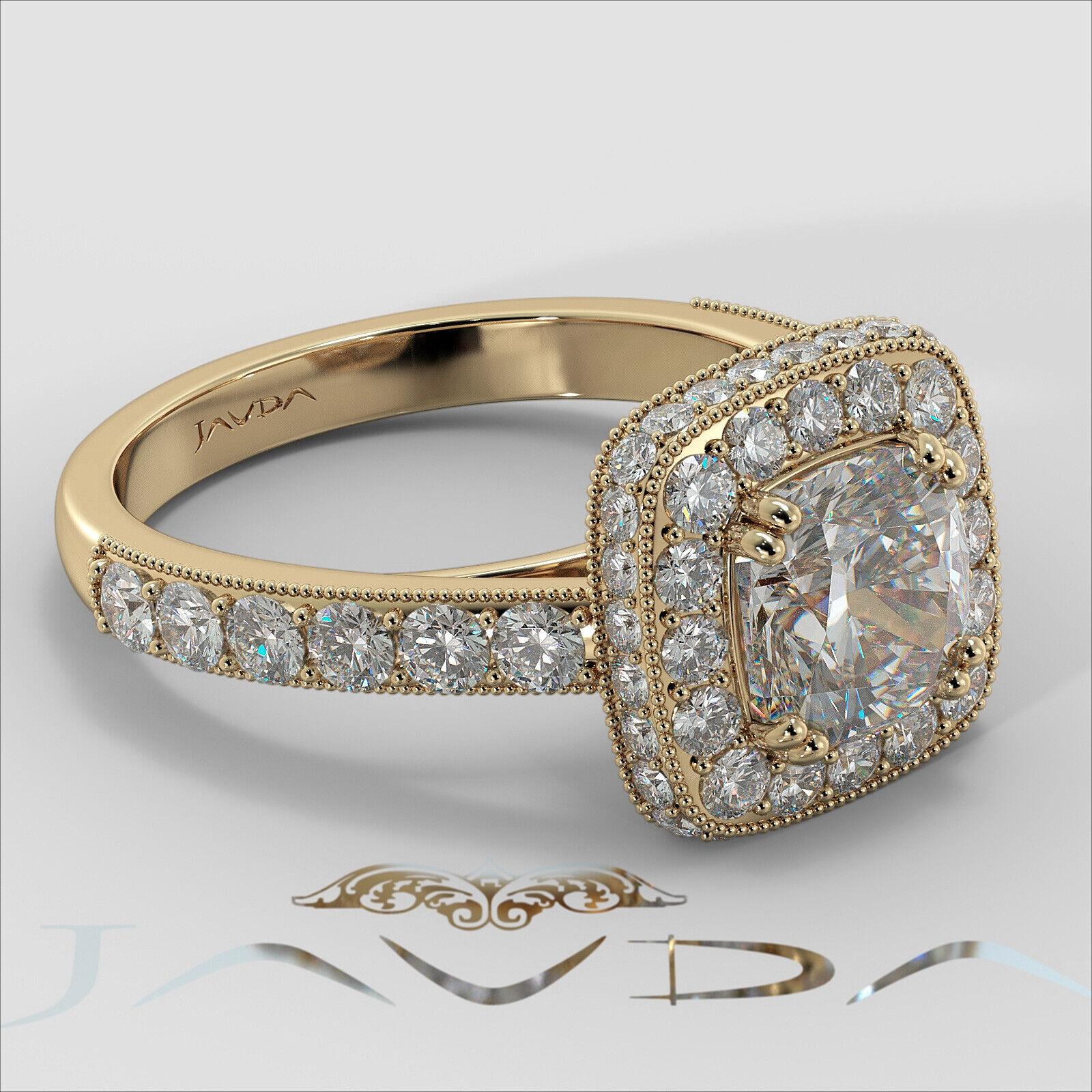 2ctw Milgrain Halo Floral Basket Cushion Diamond Engagement Ring GIA H-VS2 Gold 9
