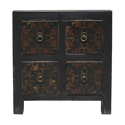 Oriental Distressed Black Golden Flower 4 Drawers End Table Nightstand cs5165 ()
