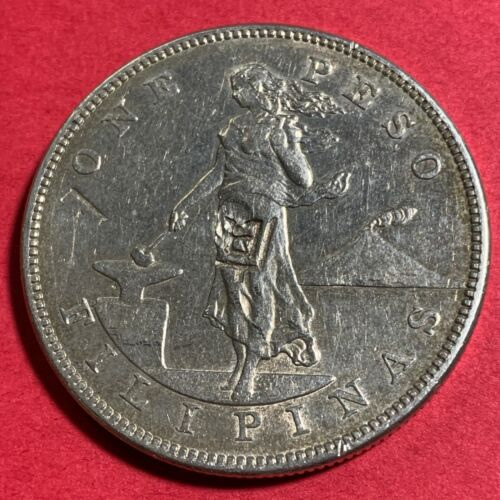 US PHILIPPINES ONE PESO 1903-S WITH 2 NICE CHOPMARKS, SCARCE #543