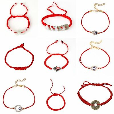 One Red Lucky Bracelet Kabbalah Evil Eye Hamsa Jewelry String Adjustable A11 (String Bracelet)