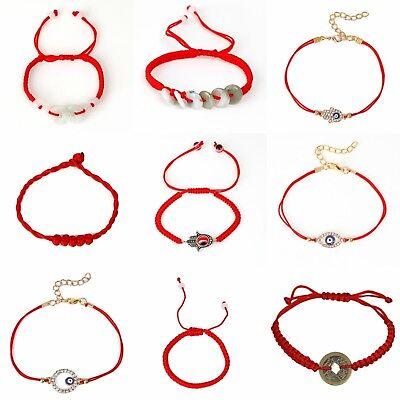 One Red Lucky Bracelet Kabbalah Evil Eye Hamsa Jewelry String Adjustable A11 ()