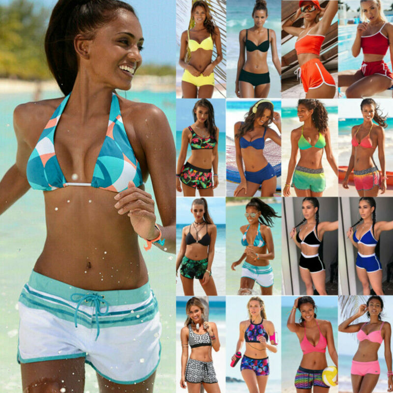 Damen Badeanzug Tankini Bikini Sets Boxershorts Top Hose Sommer Strandkleidung