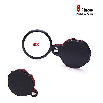 "6 Pcs Pocket Folding Magnifying 5X, Jewelry, 2"" Glass Magnifier"