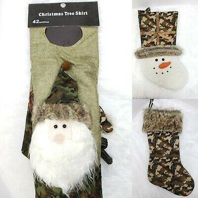 Camo Christmas Tree (Camo Treeskirt & 2 Stockings Christmas Tree Hunting Rustic Santa, Moose,)