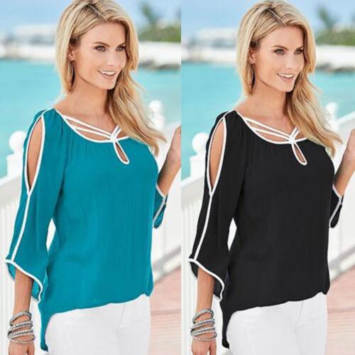 Damen Cold Shoulder Bluse 3/4 Ärmel High Low Lose Beiläufige Oberseiten T-Shirt
