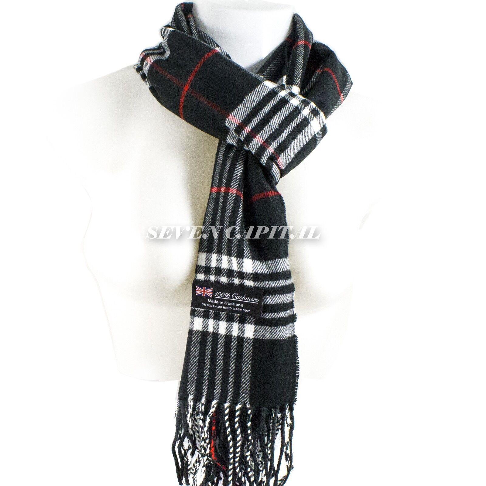 Mens Womens Winter Warm SCOTLAND Made 100% CASHMERE Scarf Scarves Plaid Wool 17. Plaid: Black/White/Red