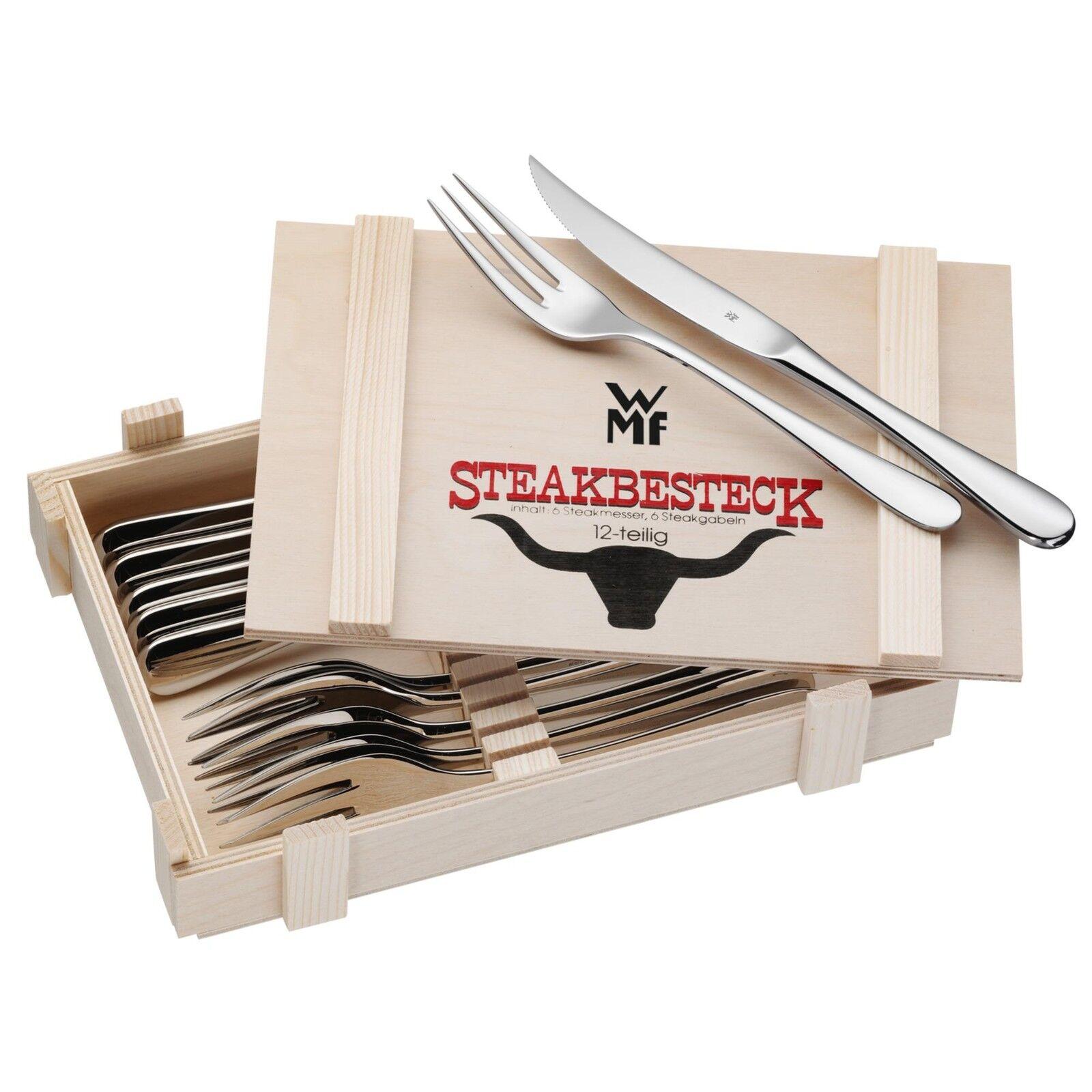 WMF Steakbesteck-Set 12-teilig in Holzkiste Edelstahl rostfrei NEU