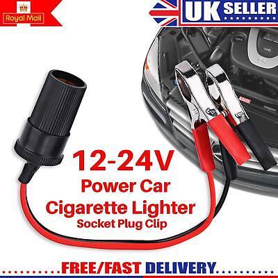Car Cigarette Lighter Socket 12V Portable Power Plug Adapter W/ Crocodile Clip