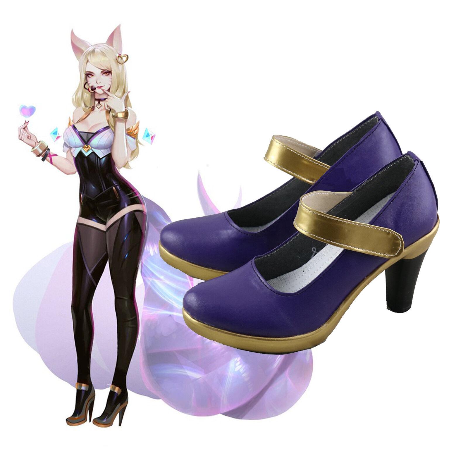 New LOL League of Legends KDA Ahri Prestige Cosplay Shoes Heel Boots Custom Made