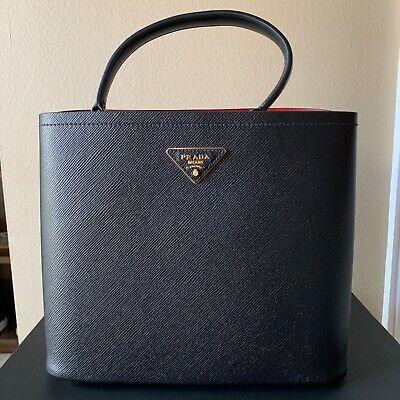 New Prada Milano Black Textured Leather Tote Purse, Red Interior with Receipt (Prada Home)