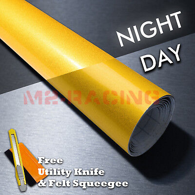 12x48 Reflective Yellow Vinyl Wrap Sticker Decal Graphic Sign Adhesive Film