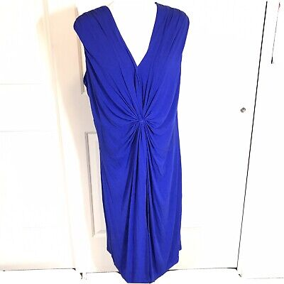 Calvin Klein Dress Blue Ruched Faux Knot Sleeveless Size 20W  EUC