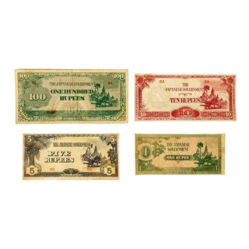 4 different Japan invasion of Burma paper money 1940