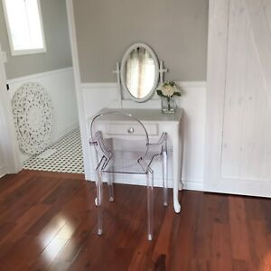 White chalk painted vanity, desk or makeup table