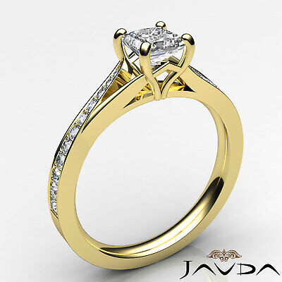 Classic Side Stone Pave Princess Diamond Engagement Ring GIA D Color SI1 0.85Ct 8