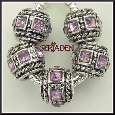 5 Purple Square Beveled Stone Spacer Charms European Style 10*11 & 5mm Hole R151