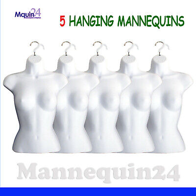 Female Mannequin Torsos - Lot Of 5 White Hanging Dress Body Forms With Hangers