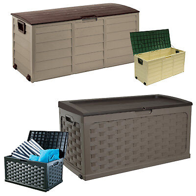 GARDEN STORAGE BOX OUTDOOR PLASTIC UTILITY CHEST CABINET TOOL SHED UNIT LOCKABLE