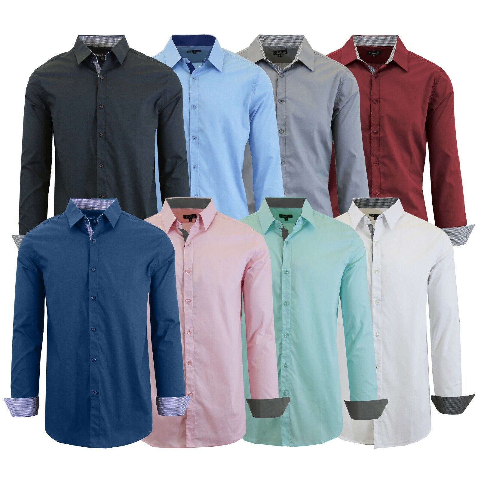 Mens Long Sleeve Dress Button Down Causal Shirt Fancy Solid Slim Fit Color NEW Clothing, Shoes & Accessories