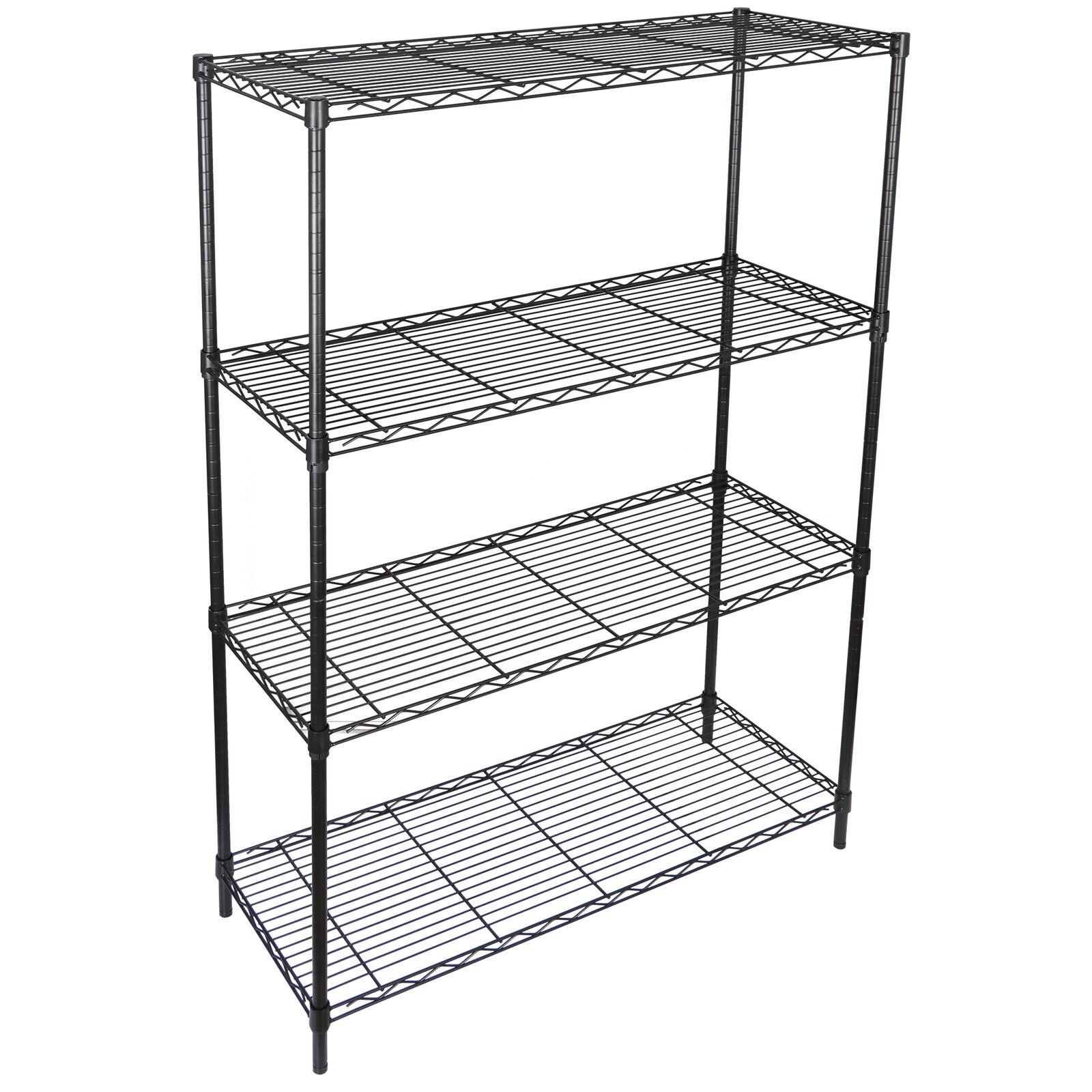 2x 4 Tier Steel Wire Shelf Rack Heavy Duty Storage Shelving Unit Kitchen Pantry Home & Garden
