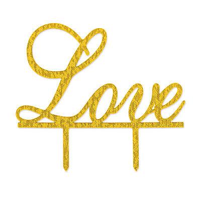 Love Topper Kuchendeckel in Gold mit Glitzer Effekt Hochzeit Torte Dekoration