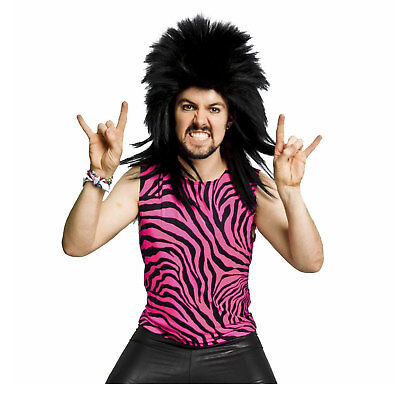 Adult Men's 80's Heavy Metal Glam Rock Poison Pink Zebra Spandex Shirt Tank Top