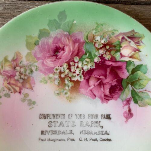 Rare STATE BANK Pink Roses Collectible Souvenir Plate RIVERDALE NEBRASKA