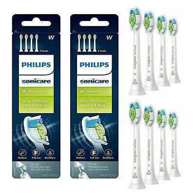 New 8X Philips Sonicare Diamond Clean HX6064/65 W Replacement Brush Heads 2x4 pc
