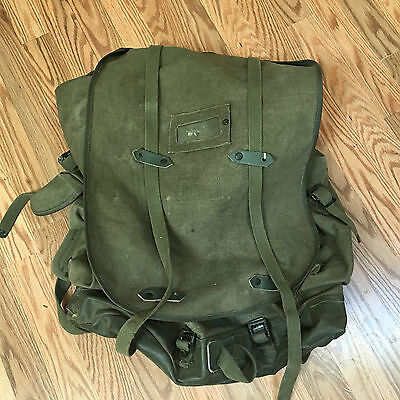Vintage Swiss Army Canvas Leather Military rucksack backpack Rubber lined BIG