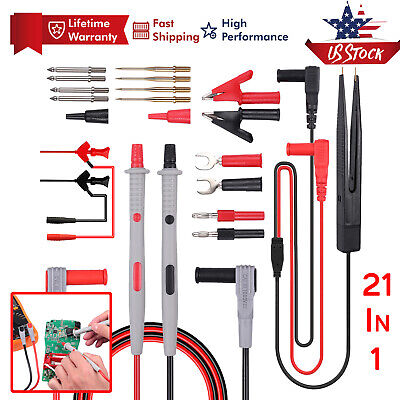 21 In 1 Electrical Multimeter Test Lead Kit With Alligator Clips Test Probe Plug