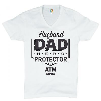 Husband Dad Protector Hero ATM V-Neck T-shirt Father's Day Papa Daddy Tee