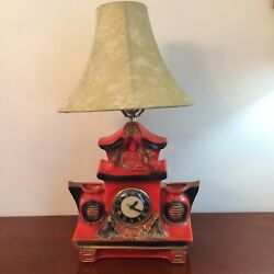 Vintage Porcelain Ceramic Buddha Table Lamp Clock Planter Asian Red Black