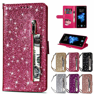 Leather Zipper Case - Bling Glitter Leather Zipper Wallet Case Cover For Samsung Galaxy Note 9/S9+/S8