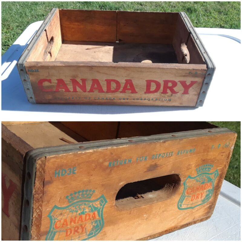 Vintage Canada Dry Wood HD3E Shipping soda Crate 1960 T-9-60 Advertisement