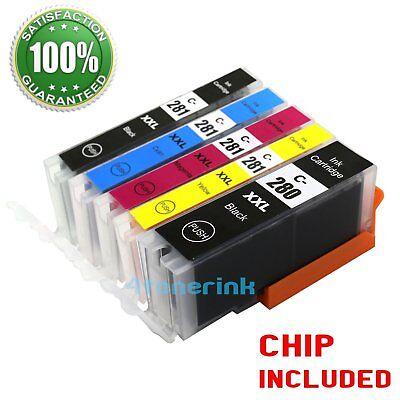 5 pack Ink For Canon Pgi-280 xxl CLI-281 xxl Pixma Ts6120 Ts9120 TS8120 Tr7520