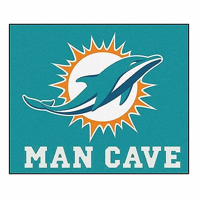 Miami Dolphins Man Cave 5' X 6' Tailgater Area Rug Floor -