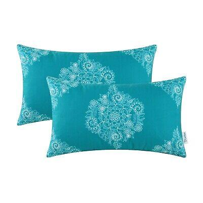 2Pcs CaliTime Teal Cushion Cover Bolster Pillow Case Mandala