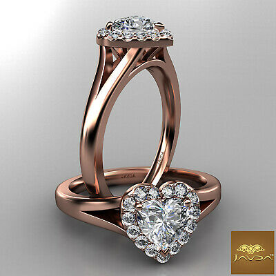 Halo French Pave Set Heart Diamond Engagement Split Shank Ring GIA G VS1 0.70 Ct 8