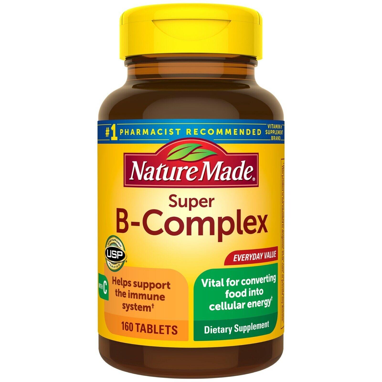Nature Made Super Complejo B Tabletas, 160 Ayuda Sistema Inmune con Vitamina C