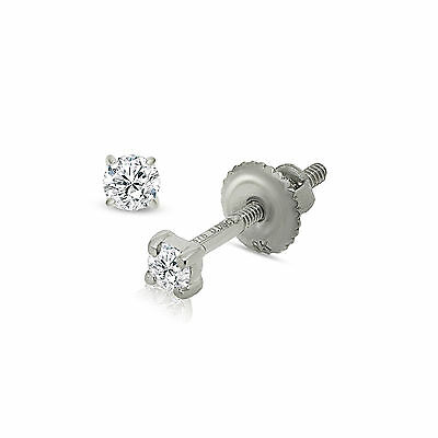 9CT WHITE GOLD DIAMOND STUD EARRINGS 2.5MM ROUND WHITE 0.10 CARAT GIFT BOXED