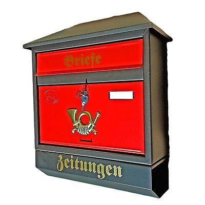 Großer Briefkasten Postkasten Schwarz matt/ Rot Zeitungsrolle Zeitungsfach Rolle