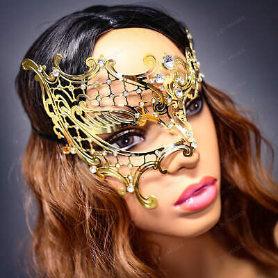 Masquerade Ball Costumes For Women (Women Masquerade Gold Laser Cut Party Costume Mask Masquerade Ball Party)
