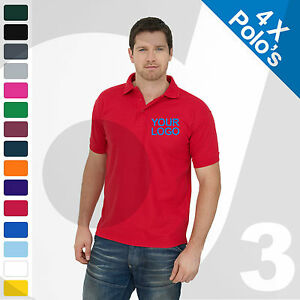 4 X Personalised Embroidered / Printed Polo Shirts Customised Workwear Text/Logo