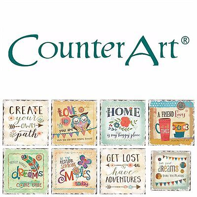 - Absorbent Stone Coaster Singles, CounterArt, 24 Styles to Choose From